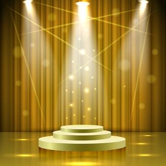 Escenario dorado con luces
