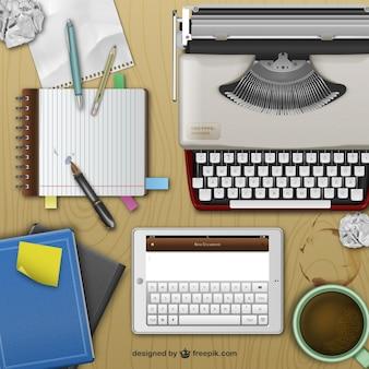 Escritorio realista de escritor