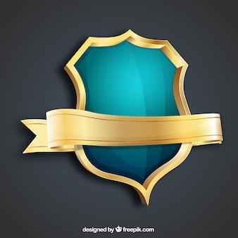 Escudo de oro y turquesa