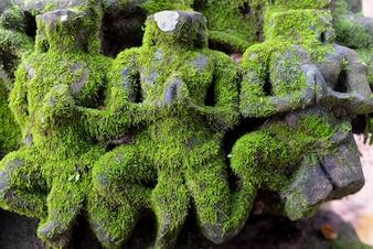 Esculturas de piedra con musgo