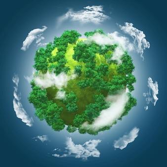 Esfera con árboles