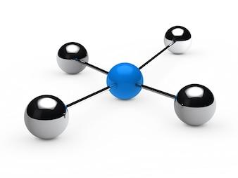Esferas cromadas unidas a una esfera azul