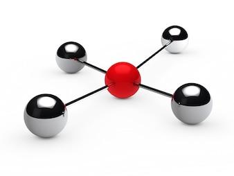 Esferas cromadas unidas a una esfera roja