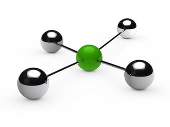 Esferas cromadas unidas a una esfera verde