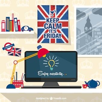Espacio de trabajo con bandera del Reino Unido