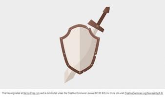 Espada y escudo medieval vector