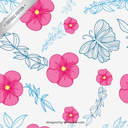 Estampado floral con mariposas