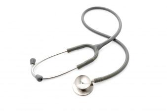 Estetoscopio médica sobre fondo blanco.