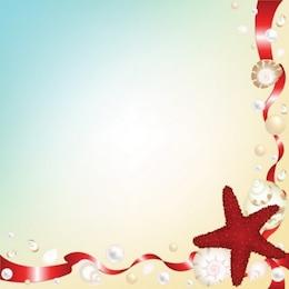 Estilo arena de mar y concha de vectores de fondo