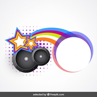 Etiqueta con altavoces y el arco iris