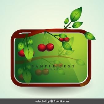 Etiqueta con rama con cerezas