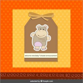 Etiqueta de bienvenida del bebé con el hipopótamo
