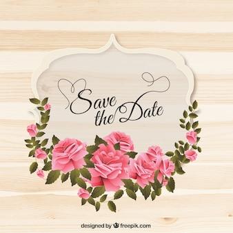 Etiqueta de boda con corona de rosas