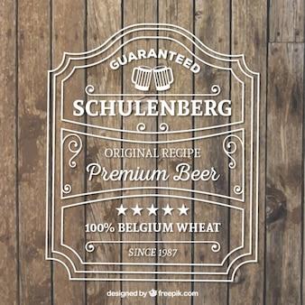 Etiqueta de la cerveza premium de madera