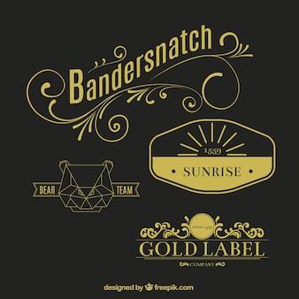 Etiqueta de oro en estilo retro