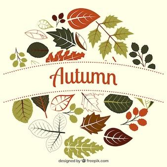 Etiqueta de otoño redonda