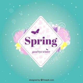 Etiqueta de primavera con flores