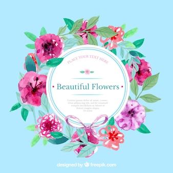 Etiqueta floral pintada a mano