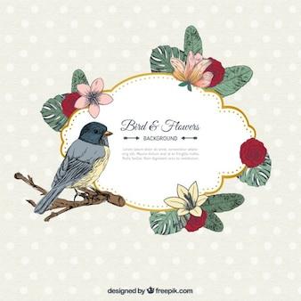 Etiqueta retro de aves y flores