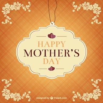 Etiqueta retro del día de la madre