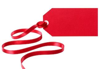 Etiqueta roja con una cinta roja