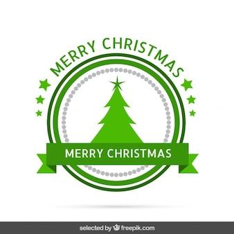 Etiqueta verde de la Navidad