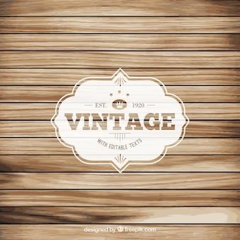 Etiqueta vintage en suelo de madera
