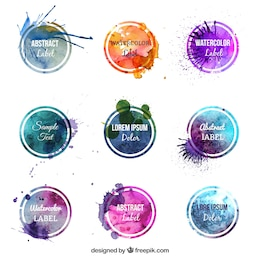 Etiquetas acuarela de colores