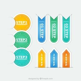 Etiquetas coloridas de pasos