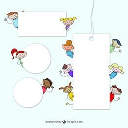 Etiquetas con dibujos de niños