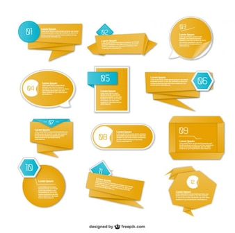 Etiquetas con texto estilo origami