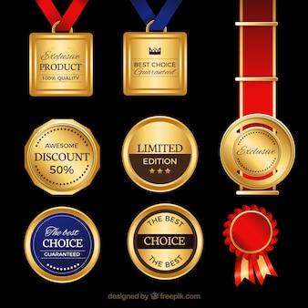 Etiquetas de calidad hechas de oro