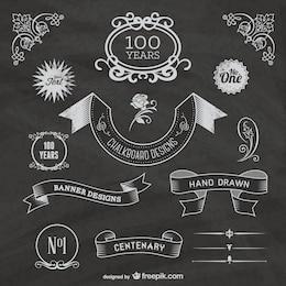 Etiquetas de centenario en pizarra