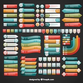 Etiquetas de colores infográficos