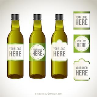 Etiquetas de las botellas de aceite de oliva