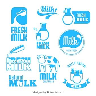 Etiquetas de leche fresca