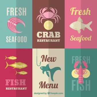 Etiquetas de mariscos frescos
