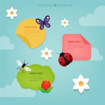 Etiquetas de primavera con insectos