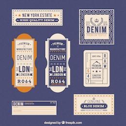 Etiquetas Denim en estilo retro