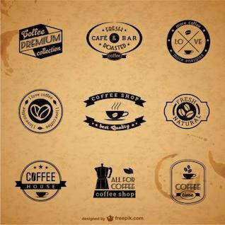 Etiquetas e insignias de café premium