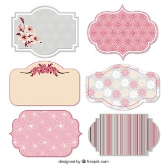 Etiquetas primaverales en tonos rosados