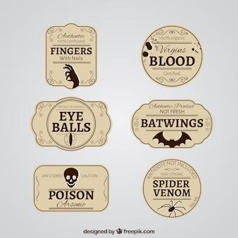 Etiquetas retro de halloween