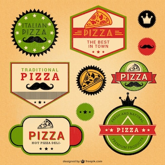 Etiquetas retro de pizza