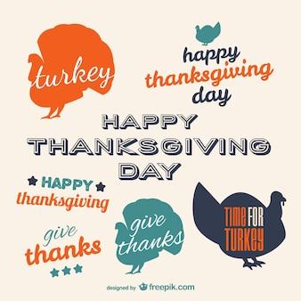 Etiquetas tipográficas para día de acción de gracias