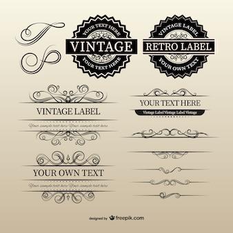 Etiquetas y separadores vintage