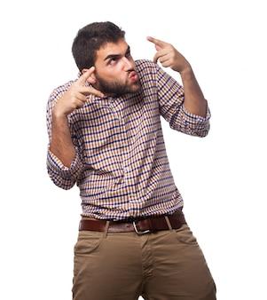 Éxito del hombre infeliz fondo haciendo un gesto