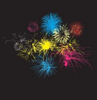 Explosiones de fuegos artificiales en la noche de fondo