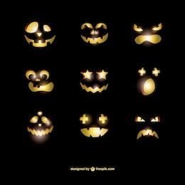 Expresiones faciales de calabazas de Halloween