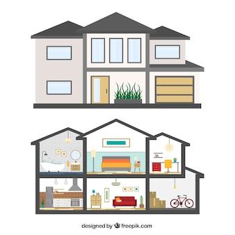 Fachada de casa e interior
