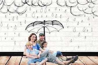 Familia con un dibujo de lluvia encima de ellos